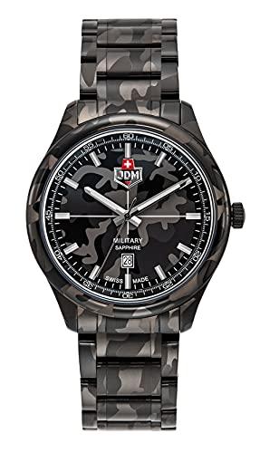 JDM Militar Alpha Mission Camo Reloj de 42 mm con esfera de camuflaje negro, cristal de zafiro en una caja y pulsera de camuflaje negro
