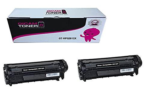 GICAM TONER Q2612X (x2) Unidad Tóner Compatible con HP Q2612X. Alto Rendimiento Válido para Impresoras: Laserjet 1010/1012 / 1015/3015 / 3020/3030 / 1020 / Laserjet 1022 / 1022N /