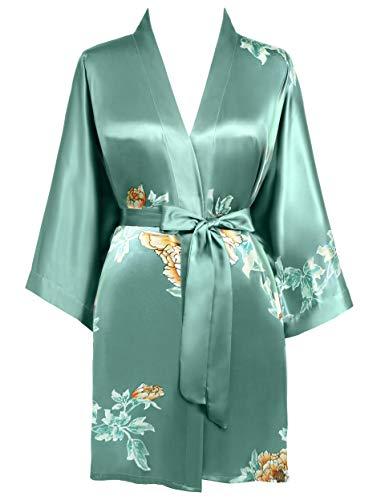 BABEYOND Morgenmantel Damen Kurz Blumen Muster Kimono Satin Robe Sommer Leicht Bademantel Mini Damen Schlafmantel Elegant Nachtwäsche(Stil4-Grün)
