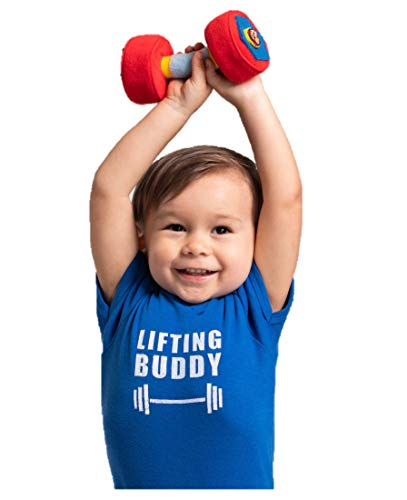 WOD Toys Baby Dumbbell Plush with Rattle - Safe, Durable Fitness Toy for Newborns, Infants and Babies (1)