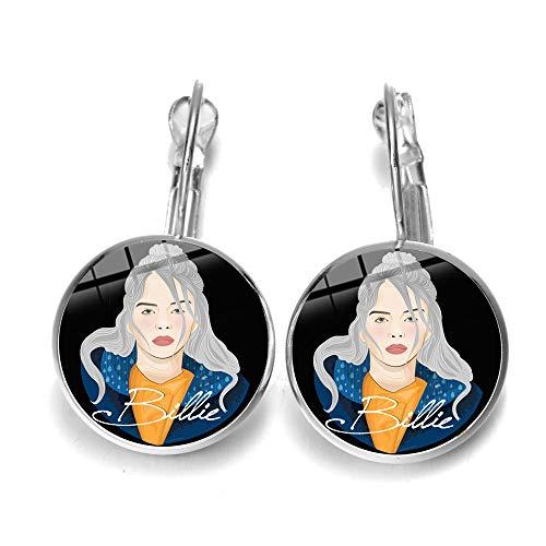 Comic Style Billie Eilish Print Ohrringe 3D Effekt Bild Glas Kuppel Tropfen Ohrringe für Frauen Mädchen Hip-Hop Musik Fans