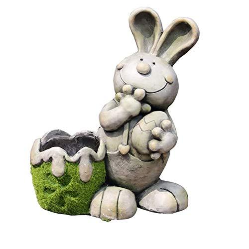 RUIXINLI Jardín al Aire Libre Conejo Tiesto Tiesto Jardín Escultura suculento de Pot Animal de la Historieta al Aire Libre del Ornamento del jardín Maceta Grande