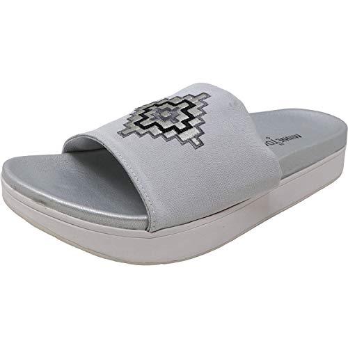 Minnetonka Womens Bailee Slide Sandal, Silver Fabric, Size 8