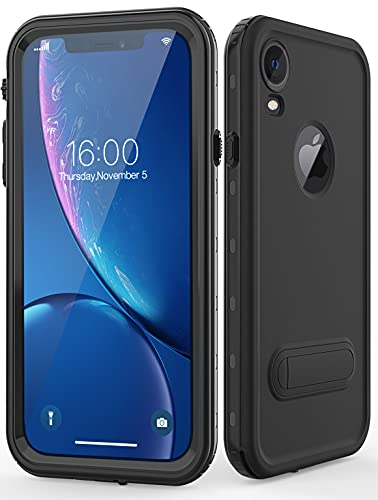 Diverbox for iPhone xr Case Waterproof,Shockproof Dustproof IP68 Full-Body Sturdy with Kickstand Case Built-in Screen Protector,Underwater Full Sealed Cover Protective for iPhone xr (Black)
