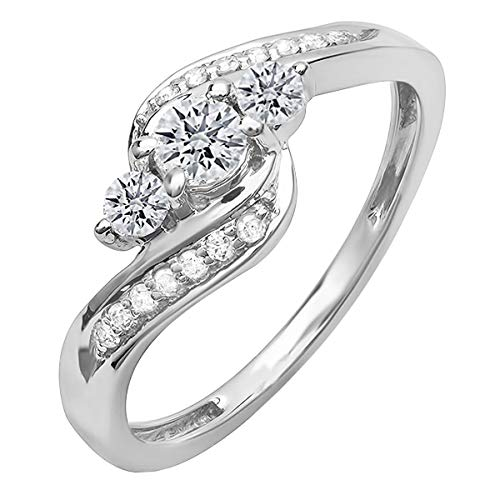1 Ct Round CZ 10K Gold Twist Split Shank Solitaire Enhancer Wedding Band Ring
