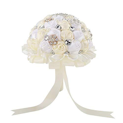 Tarente Wedding Bouquet Kristall Braut Hochzeit Hand Blumenstrauß Halten künstliche gefälschte Blume (Elfenbein-Weiß)