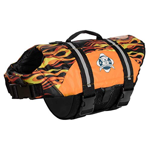Fido Pet Products Paws Aboard Doggy Life Jacket, XX-Small, Racing Flames