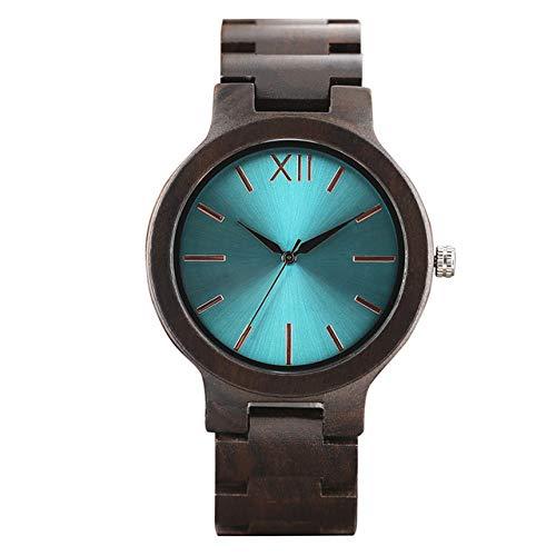 RWJFH Reloj de Madera Moda Cool Verde Azul Amarillo Hombres Reloj de ébano Completo Cierre de Pulsera Diseño único Creativo Reloj de Madera Masculino de Lujo Regalo, 2