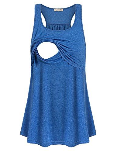 Larenba Sleeveless Nursing Top, Women Casual Layered Tunic Maternity Tops Best Nursing Tanks Soft Postpartum Shirts Casual Wear Home Simple Comfortable Loose Breastfeeding Clothes(Blue,Small)