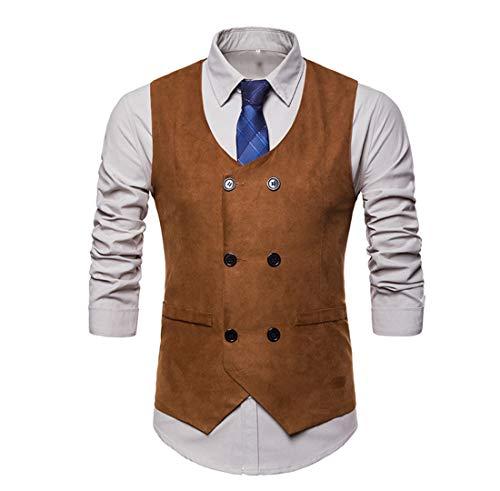 NDY Männer Anzug Kragen Zweireihig Unregelmäßiges Design Weste Herrenanzug Mode Baumwolle Langarm Schwarz Grau Braun Shirt,Brown,XL