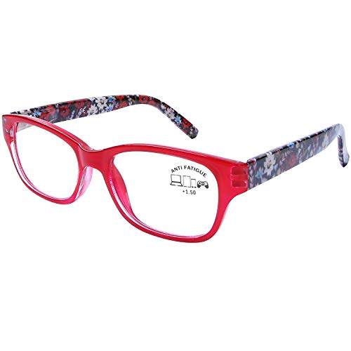 DOOVIC Blue Light Blocking Computer Reading Glasses Red Frame Rectangle Readers for Women +2.5