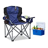 Relaxdays Chaise de camping pliante chaise de jardin pliable avec dossier et porte-gobelet HxlxP: 95 x 94 x 63 cm, bleu-noir