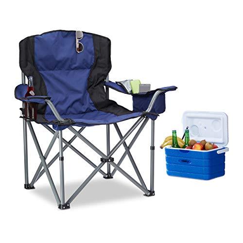 Relaxdays Campingstuhl faltbar, mit Getränkehalter, mit Rückenlehne und Armlehne, HxBxT: 95x94x63 cm, blau-schwarz
