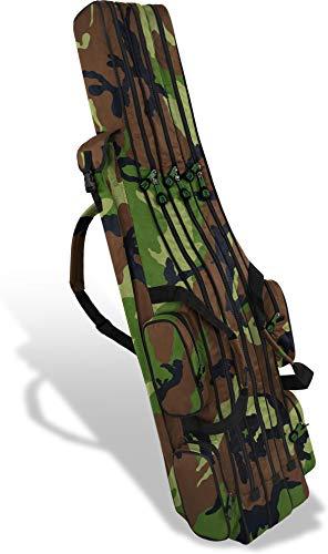 normani XXL Angel Tasche Futteral 190cm oder 210cm Rutentasche Anglerrucksack - 8 Taschen für 6 Ruten und Kescher Farbe Waldtarn Größe 210 cm