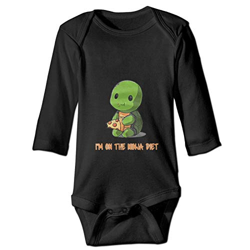 Turtles I'm On The Ninja Diet Cute Bodysuit Toddler Rompers for Infant Baby Girls Boys Newborn Boys Girls Short Sleeve Clothes Organic Tights Jumpsuits Black 18 Months