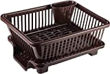 LATUKI 3 in 1 Large Durable Plastic Kitchen Sink Dish Rack Drainer Drying Rack Washing Basket with Tray for Kitchen, Dish Rack Organizers, Utensils Tools Cutlery - Brown