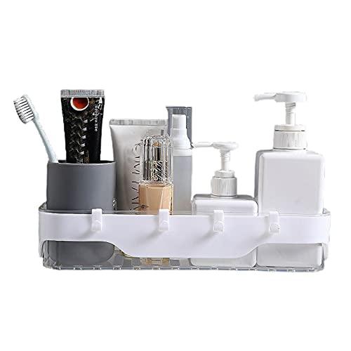 Hylu - Estantería de ducha de plástico, organizador sin agujeros, autoadhesiva, organizador con ganchos, para baño, cocina, color blanco transparente
