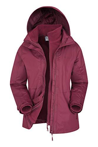 Mountain Warehouse Fell Womens 3 in 1 Jacket -Water Resistant Rain Jacket, Adjustable Hood Ladies Winter Triclimate Jacket, Packable Hood - Ideal Womens Coat for Walking Burgundy 12