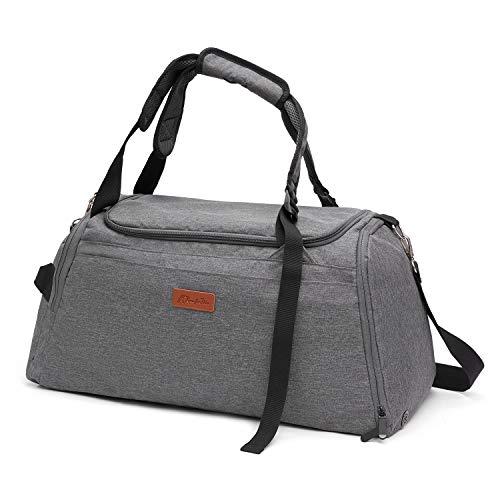 Kkomforme Sporttasche Reisetasche mit Schuhfach & Nassfach für Damen & Herren, Wasserdicht Sport Tasche Fitnesstasche (Grau)