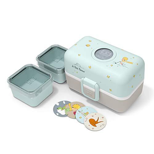 monbento - MB Tresor Der Kleine Prinz Plane Brotdose blau Kinder mit Trennwand - Bento box Kids mit Fächer - Individuell Gestaltbar - Snack Box