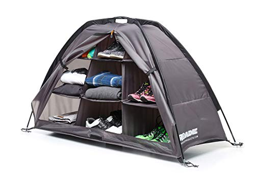 Tent & RV Camping Organizer with Zippered Flap, 9-Shelf Storage. Used as an RV Shoe Organizer or Tent Organizer for Your Camping Gear and Accessories. (Patent Pending)