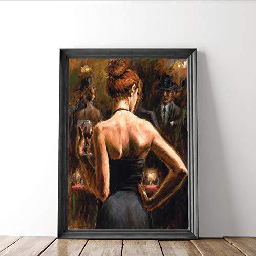 LLXXD Nordische Frauen mit rotem Haar Leinwand Malerei Wein Party Wandkunst Poster und Drucke Bilder für zu Hause Wohnzimmer Dekoration-50x70cm (kein Rahmen)