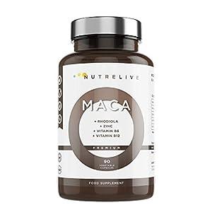 Maca andina (30.000mg) + Rhodiola + Zinc + Vitaminas B6 + B12. Máxima concentración por cápsula 30.000mg por ratio 25:1. Aumenta energía y rendimiento. Vigorizante. 90 cápsulas vegetales.