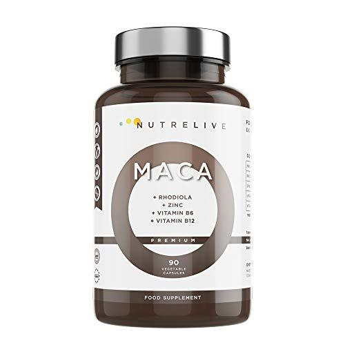 Maca andina (30.000mg) + Rhodiola + Zinc + Vitaminas B6 + B12. Máxima concentración por cápsula...