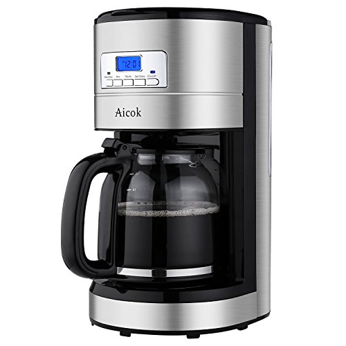 Aicok Coffee Maker, 12 Cup Best Coffee Maker with Coffee Pot, Programmable Coffee Maker with Timer and Reusable Mesh Filter, Stainless Steel