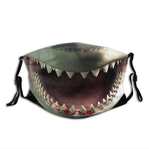 Shark Scarf Funny Mouth Teeth Animal Print Washable Mask Bandana Balaclava Reusable and Adjustable with 2 Filter for Men Women Outdoor Activities- Christmas face masks for adults funny