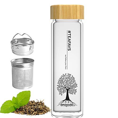 amapodo Trinkflasche aus Glas doppelwandig für Tee mit Sieb 400ml, Teeflasche, Glasflasche mit Teesieb und Bambus Deckel