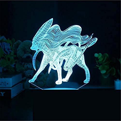 Lámpara de ilusión 3D Pokemon Suicune luz nocturna para niños, 16 colores cambiantes acrílico LED noche luz para niños niñas cumpleaños o vacaciones regalo