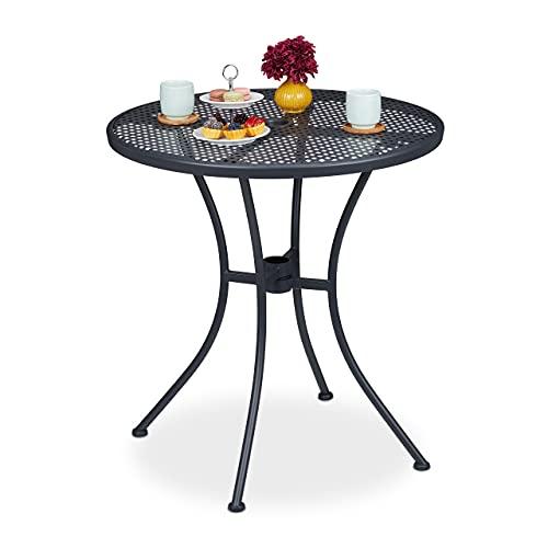 Relaxdays Gartentisch, mit Schirmloch, Gitter-Optik, wetterfest, Stahl, HxD: 72 x 70 cm, runder Balkontisch, anthrazit