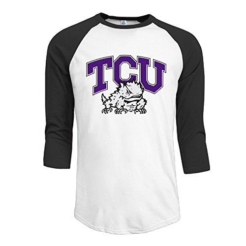 Guc Hombres de moda 3/4Manga Camisetas–Texas Christian University ranas negro