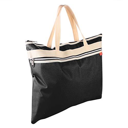 EXCEART A3 Zipper File Bag Canvas Portfolio Bag Art Document Storage Shoulder Bag Portable Multi Purpose Waterproof Fabric Storage Folder Stationery Art Work File Storage Pouch Organizer Black