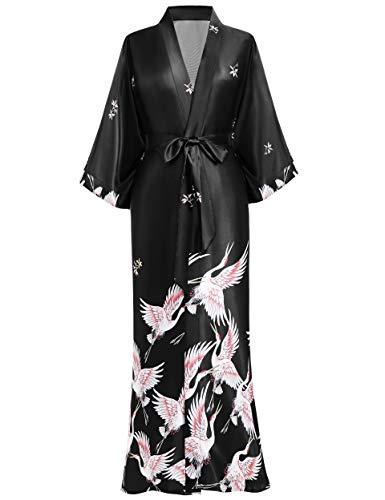 BABEYOND Damen Morgenmantel Kimono Kranich Gedruckt Maxi Lang Damen Bademantel Strandjacke Braut Junggesellinnenabschied Party Schlafmantel (Schwarz, Einheitsgröße)