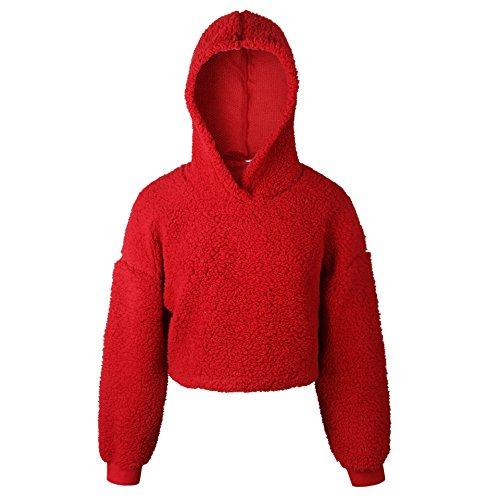 Kabxryaclo - Maglione da donna a tinta unita, con maniche a pipistrello incrociate, con cintura Rosso 48