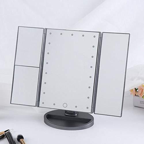 YASEking Espejo de baño portátil, Plegado Triple Maquillaje Tocador Espejos con 21 Luces LED for el Dormitorio Escritorio de la Tabla Robusta Plegable de Maquillaje Espejo Ajustable