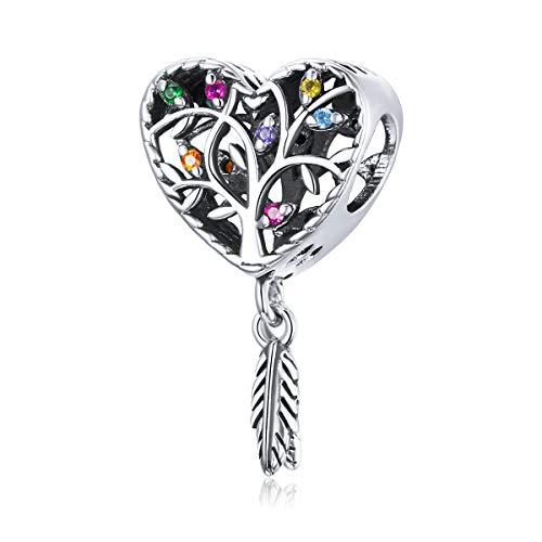 Plata esterlina Pluma colorida Cupido Flecha Mariposa Corazón Árbol de la vida Copa de vino Encantos de animales para adaptarse a la pulsera Pandöra para mujeres y niñas(Encanto del árbol de la vida)