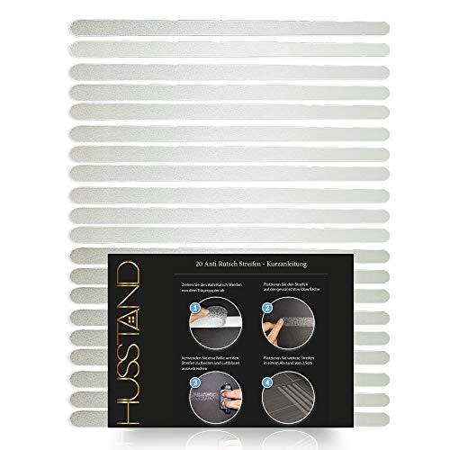 husstand® - 20 x Antirutschstreifen - (45x2 cm), Anti Rutsch Streifen für Badewanne und Dusche, Transparent und selbstklebend,Anti-Rutsch für Treppenstufen, Antirutsch Aufkleber.