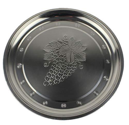 Plus Nao(プラスナオ) ステンレストレー お盆 トレイ プレート キッチン用品 丸 まる ラウンド 丸盆 円 30cm シルバー 銀色 - 30cm