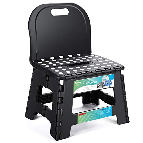 ACSTEP Folding Step Stool with Back Support for Kids,9 inch Perfect Height for Toddler Toilet Training Mommy Helper Kid Stool
