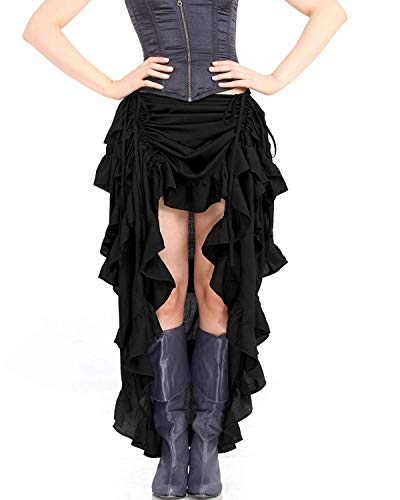 ThePirateDressing Steampunk Victorian Cosplay Costume Womens High-Low Show Girl Skirt C1367 (Black) (Large)