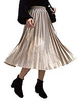 (アップランクス) Upranks スカート レディース ロング フレア プリーツ ウエスト フリー 体型カバー (アプリコット)