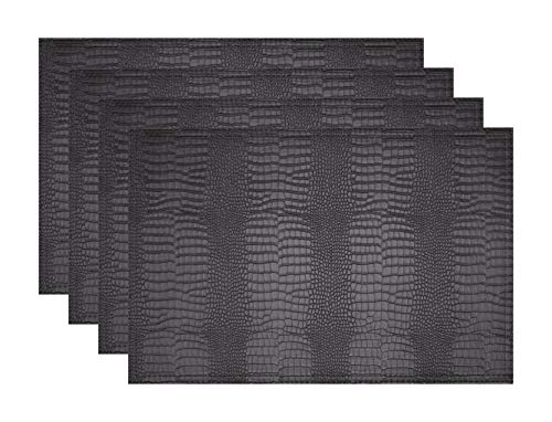 Jovono Faux Leather Hardboard Placemats, Set of 4 PU Table Mats, Easy to Clean, Heat & Stain Resistant for Office Conference Table,Dinging Home Decor