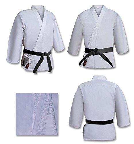 Traje de Karate de Peso Pesado de 16 onzas de Peso, 100% algodón Cepillado, Kimono de Karate Blanco Blanqueado, Traje de Aikido (Tallas revisadas, Corte Europeo) 5/180 cm Grande
