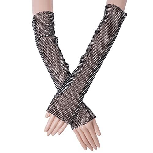 TiaoBug Glitter Rhinestone Elbow Length Stretch Fingerless Gloves Fishnet Arm Sleeve for 80s Fancy Dress Party Supplies Black&Rhinestone One Size