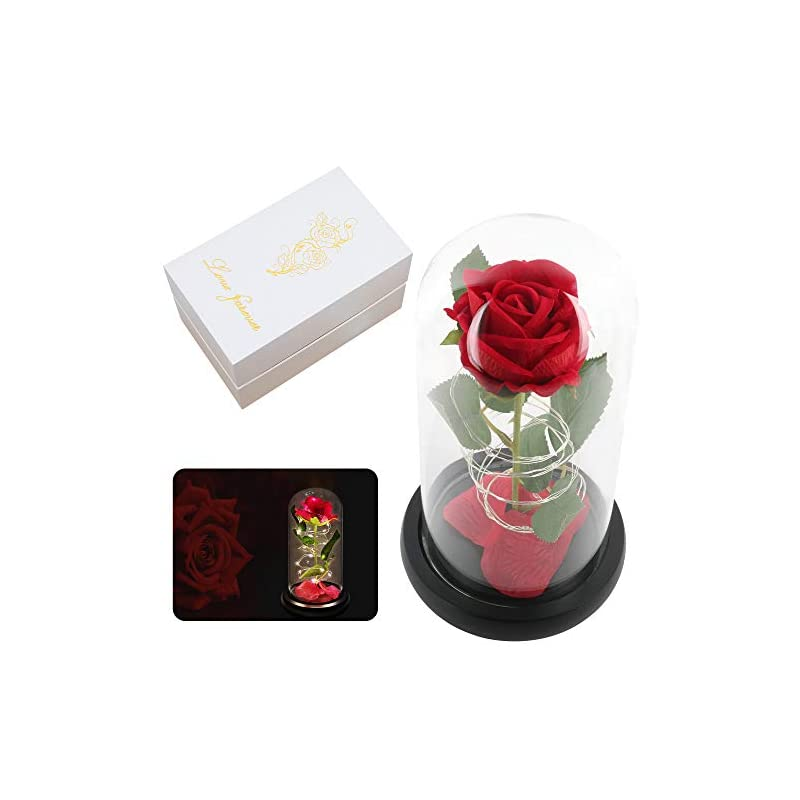 silk flower arrangements red artificial flower rose gift,light up silk rose flowers gift,forever rose in glass dome,women gifts idea for valentine's day,mother's day,thanksgiving,birthday,anniversary on any occasion
