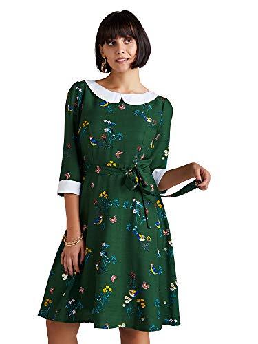 YUMI Green Bird Print Peter Pan Collar Skater Dress