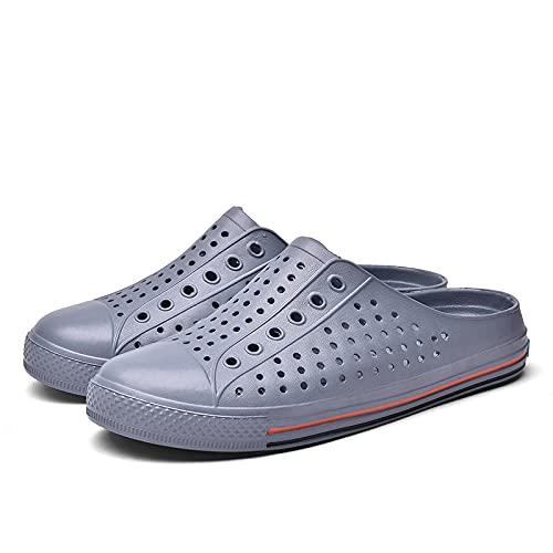 NISHIWOD Zapatillas Casa Chanclas Sandalias Chanclas Hombre Zapatillas De Playa Zapatos Casuales Diapositivas Transpirables Hombre Sippers Zapatos con Agujeros Al Aire Libre Zuecos Unisex 8.5 Gris